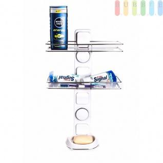 Duschablage / Organizer von Alpina, 2 Regale, 1 Seifenschale, Montage mit Saugnäpfen oder Montageplatten, Belastung max.10kg, Größe51x30x13cm