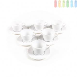 Tee-/Kaffee-Set von Rocco Bormioli, Tasse mit Untertasse, Porzellan, 6-teilig, weiß