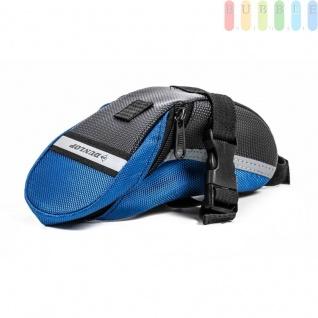 Fahrrad Satteltasche von Dunlop, Klett-/Klick-Montage, reflektierendeStreifen, wasserdicht, Größeca.20x10/5x8cm, Farbe Schwarz-Blau