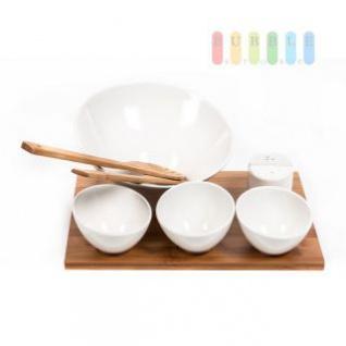Salat-Set 9-teilig mit Besteck, Salz-/Pfefferstreuer und passendem Tablett aus Bambus, 30 x 33 x 1, 2 cm