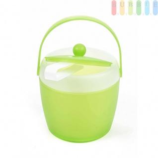 Eiskübel von Fresh & Cold mit Zange, Henkel und Deckel, doppelwandig, Volumen1, 5l, Größeca.20x18cm, Farbe Grün