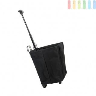 Fahrrad Gepäckträgerkorb mit Einkaufstrolley, ausziehbarer Griff, 2 Rollen, Haken zum Einhängen am Gepäckträger, Regenabdeckung