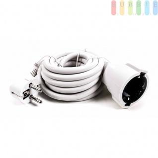 Verlängerungskabel von Kinzo, weißer Kunststoffmantel, 90 ° abgewinkelter Schuko-Stecker, Länge3m