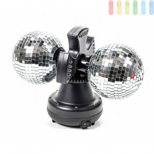 Doppel-Disco-Spiegel-Kugel-Leuchte von PartyFunLights, 2Spiegel-Kugel rotierend, Ein-Aus-Schalter, 32bunteLEDs, 6W