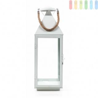 Metalllaterne von Arti Casa, Glaseinsätze, Metallboden, Tür mit Verschluss, Seil-Griff, Design maritim, weiß, Größeca. 55 cm