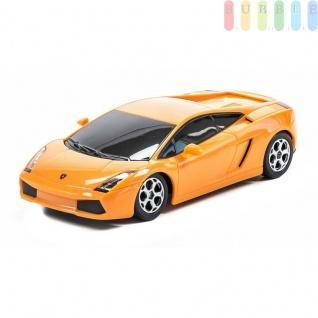Modellauto von Radio Fun International mit 2-Kanal-Fernsteuerung, ON-OFF-Schalter, Maßstab1:24, Modell Lamborghini Gallardo in orange