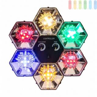 Lichtorgel von PartyFunLights, 6 Licht- und 1 Steuermodul, Kompaktgerät, musik- odermanuellgesteuert, 30LEDs