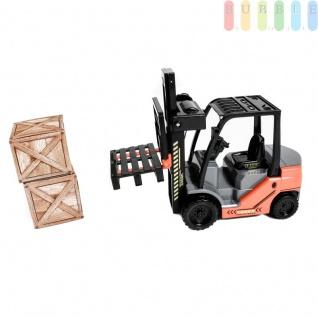 Gabelstapler von Gear Box mit Friktionsantrieb, 2 Kisten, 1 Palette, manuelle Hebefunktion, Länge ca. 25 cm - Vorschau 2
