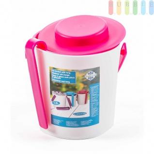 Eiskübel von Fresh & Cold mit Zange, Henkel und Deckel, doppelwandig, Größeca.16, 2x14cm, Farbe Weiß/Pink