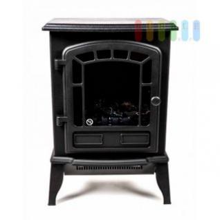 Elektrokamin mit Füßen, klassisches Design, kompakt, Flammensimulation beim Einschalten , 1800-2000W, schwarz