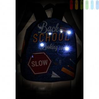 Disco-Kinderrucksack mit 6 LEDs von Party Fun Lights, 2Fächer, Gurte verstellbar, Batteriebetrieb, Höheca. 33, 5cm, Back to School-Design