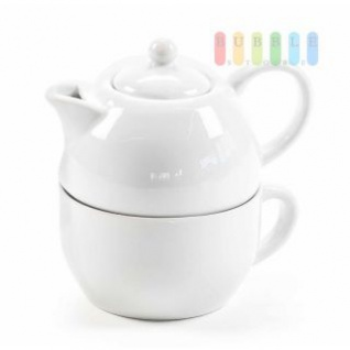 Tee-/Kaffee-Set von Alpina, Tasse mit Kanne, Porzellan, 175 ml, 2-teilig, weiß
