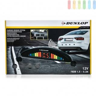 Parksensor-System von Dunlop zum Nachrüsten, Digital-Anzeige (links/rechts) und Piepton, 4 Sensoren, inklusiveBohrer, einfache Montage, 12V/4W