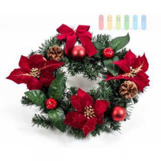 Weihnachtstisch- oder Türkranz für außen und innen, komplett dekoriert, robust, grün-rot-gold