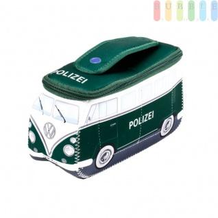 VW T1 Bus Neopren-Tasche in 3D-Optik, multifunktional, VW-Kollektion, Retro-Design, doppelter Reißverschluss, Innentaschen, Henkel, Größe ca. 24 x 12 x 8 cm, Polizeiwagen-Version