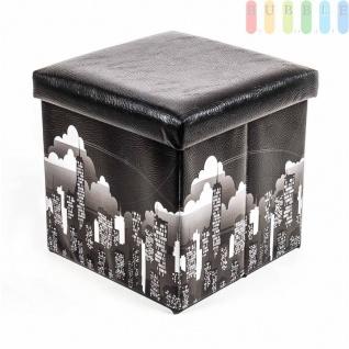 Polsterhocker, Kunstleder, faltbar, mit Stauraum im Würfel, Maße38x38cm, Black-Skyline-Design - Vorschau 2