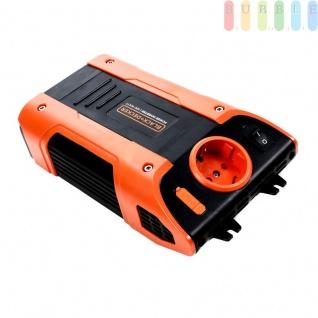 Wechselrichter von Black & Decker für Auto und LKW, Schuko-Steckdose, USB-Buchse, Strom über Zigarettenanzünder-Buchse oder KFZ-Batterie, Umwandler von 12 Volt DCauf230 Volt AC
