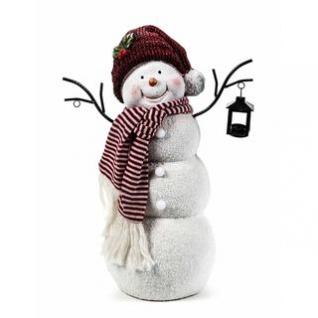Schneemann Mit Laterne Weihnachtsfigur 4 LED Deko Weihnachtsdekoration Höhe 52cm