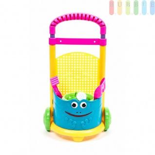 Sandkasten-Trolley von EDDY TOYS, freistehend, Griff höhenverstellbar, 5-teilig, Farbe Pink