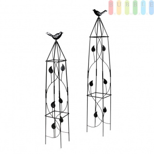 Rankhilfe für Kletterpflanzen in 2 Größen mit Deko-Vogel von Lifetime Garden, Obelisk-Kletterhilfe für den Garten, Metall, schwarz, Höhe ca. 71, 5 cm / 91 cm