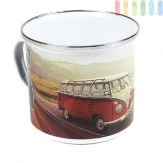 VW T1 Bus Emaille Kaffeetasse, Motiv ?Highway 1?, Becher im Geschenkkarton, Stahlblech emailliert, Sammler-Stück, VW-Kollektion, Retro-Design, 500 ml