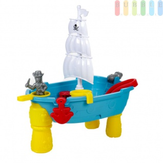 Sandspielzeug und Wasserspielzeug Set Piratenschiff, 19 Teile mit Schaufel, Harke, 3 Sandförmchen, Pirat im Ausguck, Beine abnehmbar, schwimmt, Kunststoff