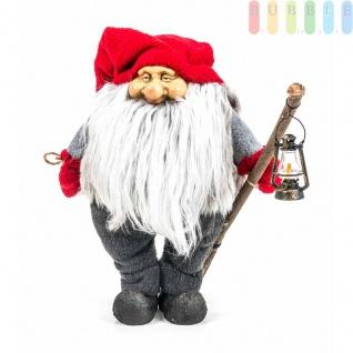 Weihnachtsmann / Nikolaus von Christmas Gifts, Laterne am Holzstab, Textil, Plüsch, Wichtel-Design, Höheca. 27 cm, Weihnachtsmann (Modell 1)