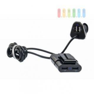 USB-Adapter/-Ladegerät ALL Ride für Zigarettenanzünder mit 4 USB-Buchsen für Vorder- und Rücksitze gleichzeitig, 2-teilig, 12/24V, 5V/4, 8A