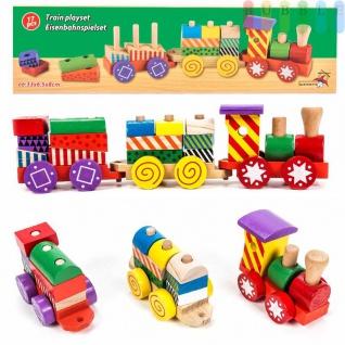 Holz-Eisenbahn-Spielset von Marionette mit 3Wagen und 14 Holzbausteinen, Steckverbindung, 17-teilig, bunt - Vorschau 1