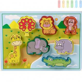 """Holzpuzzle """" Wildtiere"""" für Kleinkinder von Marionette mit 7 Puzzleteilen auf Grundplatte, bunt, ca. 30 x 22 cm"""