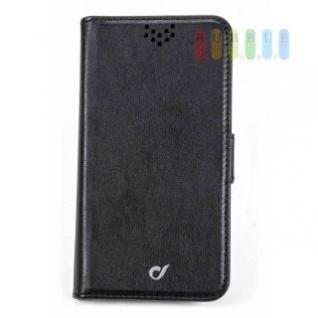 Handytasche für ein Galaxy S7 von Cellularline, Flip-Book-Case, Ständerfunktion, Magnetverschluss, schwarz