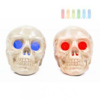 Halloween Skull /Schädel von Arti Casa, LED-beleuchtet, freistehend oder hängend, Ein-Aus-Schalter, Batterien inklusive, Höhe ca. 9 cm, lieferbar in den Farben Blau und Rot