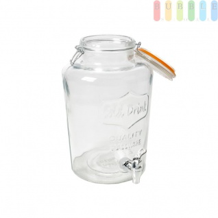 Getränkespender mit Bügelverschluß, Glas mit Relief im Vintage-Stil, für Party, Haushalt, Hotel, Gastronomie, Volumen ca. 8 l