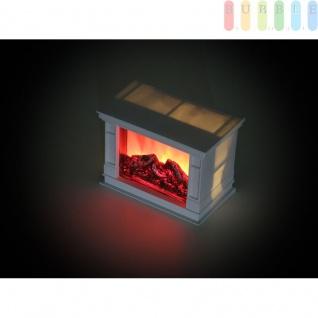 Deko Kamin mit flackernder Flamme von Grundig, Lampe in Kamin-Optik, batteriebetrieben, An/Aus-Schalter, 6 Std.-Timer, Höhe ca. 13 cm, Farbe Weiß