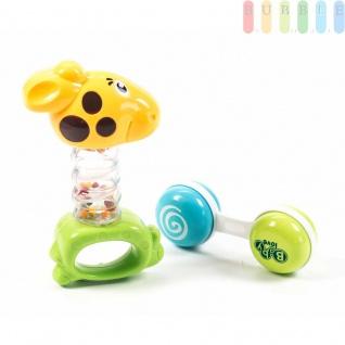 Baby-Spiel-Set von Let´s Play, 2-teilig, Rasseln, Beißringe und Greifspielzeug Frühförderung, Beschäftigung, erstes Spielen, Giraffe