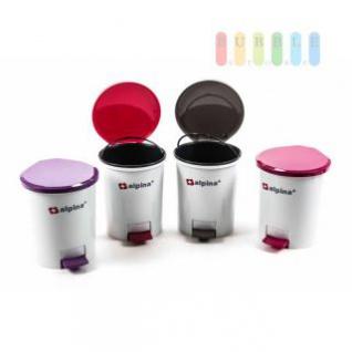 Tretmülleimer/Kosmetikeimer von Alpina, Inneneimer, Fußpedaltechnik, 3 l Volumen, lieferbar in den Farben Weiß/Violett, Weiß/Rot, Weiß/Grau oder Weiß/Pink