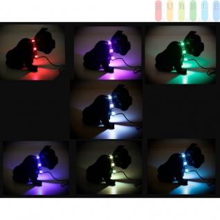LKW Innenbeleuchtung Wackelhund mit 6 LEDs von ALL Ride, Bull-Terrier Dekoration, schwarz mit 7 Farben im Halsband, 12 - 24 V