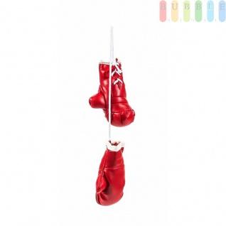 Mini-Boxhandschuhe von ALL Ride, witzig-sportliche Dekoration, Rückspiegel im Auto, Kunstleder, schlicht, Größeca.8, 5cm, Farbe Rot