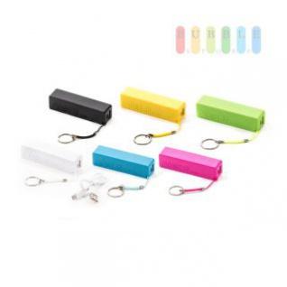 USB-Powerbank /mobiler Akku als Schlüsselanhänger mit Ladekabel, 1800mAh, lieferbar in den Farben Weiß, Schwarz, Gelb, Grün, Blau, Pink