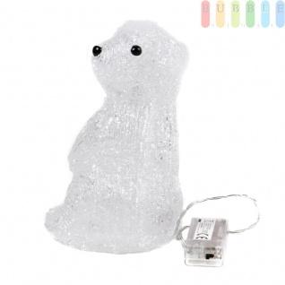 Eisbär von Grundig aus Acryl, transparent, beleuchtet mit 20 LEDs, Batteriebetrieb, Indoor, Höheca. 18, 5 cm, sitzender Eisbär