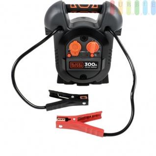 Jump It J312BE Starthilfegerät für KFZ-Motoren von Black + Decker, Netzladeadapter, Plus- + Minusklemmen, Ein-Aus-Schalter, USB-Buchse, LED-Anzeige, 12V /300A