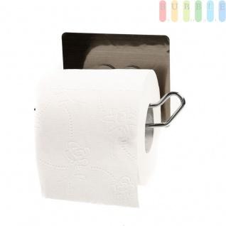 Toilettenpapierhalter von Alpina, Montage ohne Bohren, Verchromte Metallaufhängung mit Vakuum-Pad-Halterung, Belastung max.2kg, Größeca. 14 x9, 5x8 cm