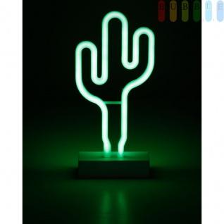 Neon-LED-Deko-Leuchte von Grundig, Kunststoff, 108 LEDs, batteriebetrieben, freistehend, Farbe grün, Höhe ca. 32 cm, Motiv Kaktus
