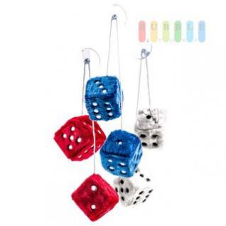 Plüschwürfel ALL Ride als Paar mit Band und Saugnapf, verstellbar, 7, 5 cm, lieferbar in den Farben Rot, Blau oder Weiß