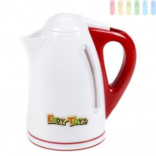 Kinder Wasserkocher, Spielzeug für die Kinderküche von EDDY TOYs, Sichtfenster, Klapp-Deckel, wasserfest, Größe (ØxH) ca. 9, 5 x 17cm, weiß mit rot