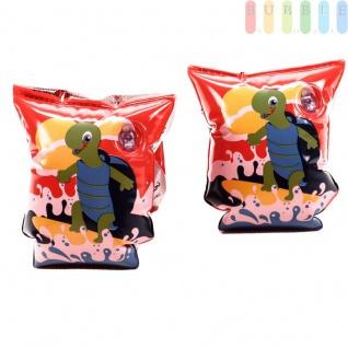 Schwimmflügel Schildkröte für Kinder von Bestway, aufblasbar, 2 Kammern, 2 Sicherheitsventile, für Mädchen und Jungen, Rot