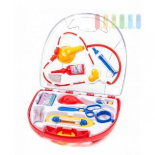 Kinder-Doktor-Set von EDDY TOYs Koffer, klappbar mit viel Zubehör, rot, 10-teilig