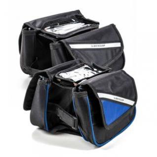 Fahrrad Rahmentasche von Dunlop, Handy-Tasche, Klett-Montage, Klett-Verschlüsse, reflektierende Streifen, Größe ca. 20 x 15 x 15 cm, lieferbar in den Farben Schwarz oder Schwarz-Blau