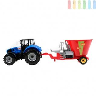 Traktor mit Anhänger von Gearbox, Friktionsantrieb, Bauernhof-Spielset, Länge ca. 44 cm, Farbe Blau