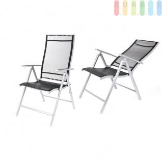 2er Set Gartenstuhl mit hoher Lehne, Alu/Stahl, Textilbespannung, klappbar, Rücken 7-fach verstellbar, grau